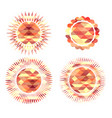 set icons suns consisting polygonal vector image