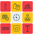 set of 9 travel icons includes appointment seats vector image