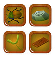 set of forest icons with beetle wood stone and vector image