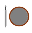 Set round shield sword silver 2807 vector image vector image
