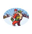 snowing santa icon vector image vector image
