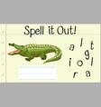 spell english word crocodile vector image