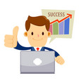success businessman in suit with laptop vector image