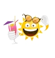 summer cartoon smiley sun vector image vector image