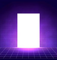 vaporwave background with laser grid white glow vector image vector image
