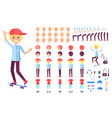 cheerful teenage skater boy in cap constructor vector image