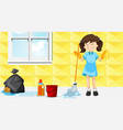 a maid cleaning house vector image