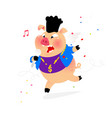 a pig with a microphone hip-hop performer of vector image vector image
