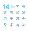 air transport - thin line design icons set vector image vector image
