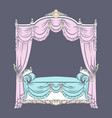 baroque bed with baldachin made in hand drawn vector image