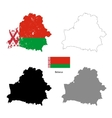 Belarus country black silhouette and with flag on vector image