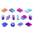 books and online education isometric 3d vector image