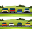 Cars parking on the road vector image vector image