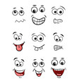 cartoon face set isolated on white background vector image