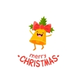 Cheerful Christmas card with bell vector image vector image