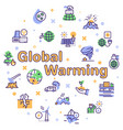 climate change and global warming color linear vector image vector image