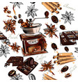 coffee background with watercolor coffee mills vector image