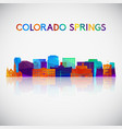 colorado springs skyline silhouette in colorful vector image vector image