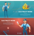 Colorful Electricity Work Horizontal Banners vector image