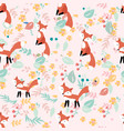 cute fox in flower and leave seamless pattern vector image