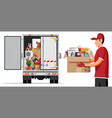 delivery truck full home stuff inside vector image