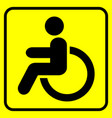 disabled warning sign man in wheelchair black vector image vector image