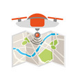 drone flying technology with paper map vector image