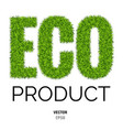eco made of green grass vector image