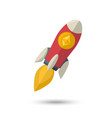 ethereum chrystal on a rocket vector image vector image