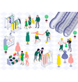 family shopping horizontal isometric vector image vector image