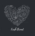fresh bread heart poster vector image vector image