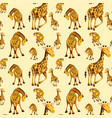giraffe on seamless pattern vector image