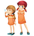 Girls crying and upset vector image vector image
