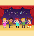 group kids dancing and singing a song vector image vector image