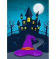 Halloween night background with witch hat vector image vector image