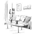 hand drawn room interior sketch sofa pillow vector image vector image