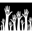 hands up background vector image vector image