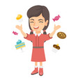 happy caucasian girl standing among lots of sweets vector image
