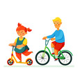 happy children cycling - flat design style vector image