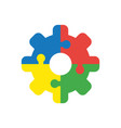 icon concept of four pieces jigsaw puzzle pieces vector image
