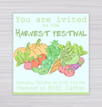 invitation for harvest festival with vegetables vector image