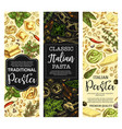 italian cuisine pasta and macaroni sketch banners vector image vector image