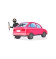 man in black mask broke window in pink automobile vector image vector image