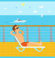 man relaxing on vacation chaise longue seaside vector image vector image