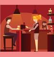 man sitting at bar counter flat vector image vector image