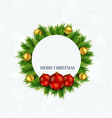 merry christmas frame with balls and xmas tree vector image vector image