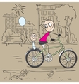 Mother and child riding a bicycle vector image vector image