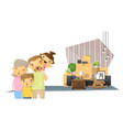 moving home concept background with happy family vector image vector image