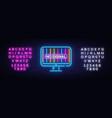 no signal tv neon sign error signal vector image vector image