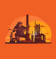oil digger at work vector image